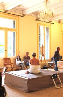Life drawing under the chandelier