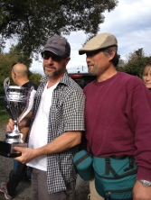 Mark Glavina & Stephen Chen, the winner, with the Gray Cup