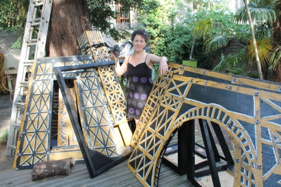 Overpainting the original Eiffel tower panels.