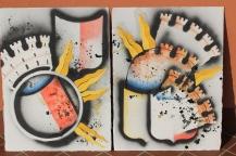 Variations on the Bergamo Stemma, spray paint and stencil.